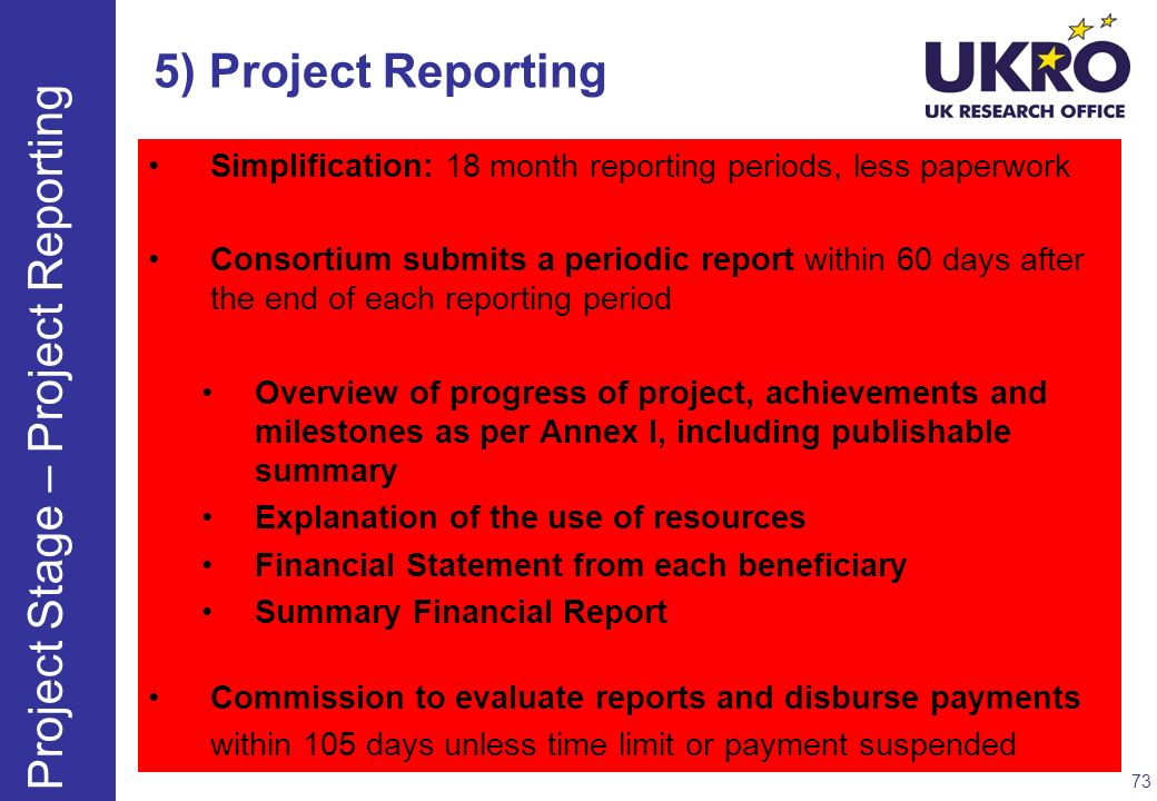 Project Stage – Project Reporting