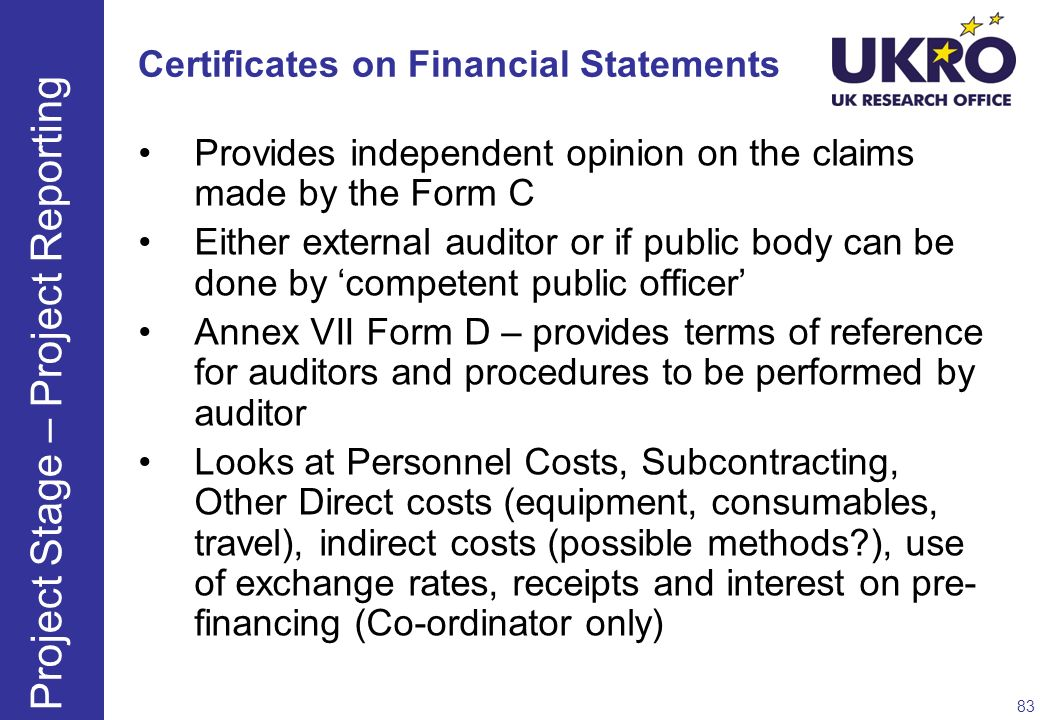Certificates on Financial Statements