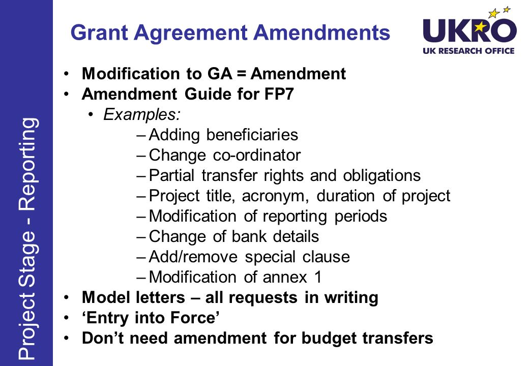 Grant Agreement Amendments