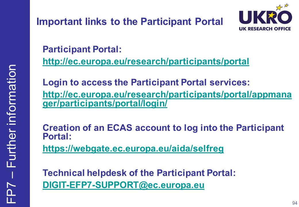 Important links to the Participant Portal