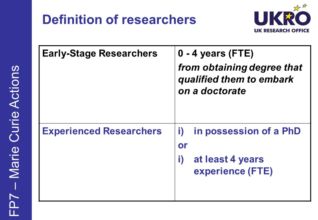 Definition of researchers