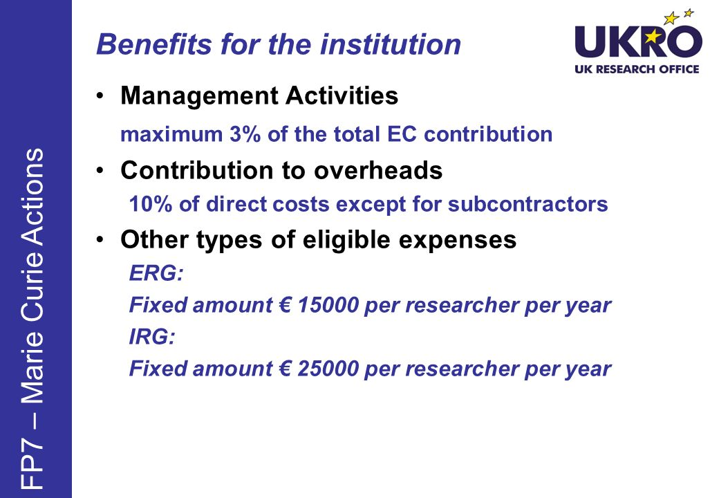 Benefits for the institution