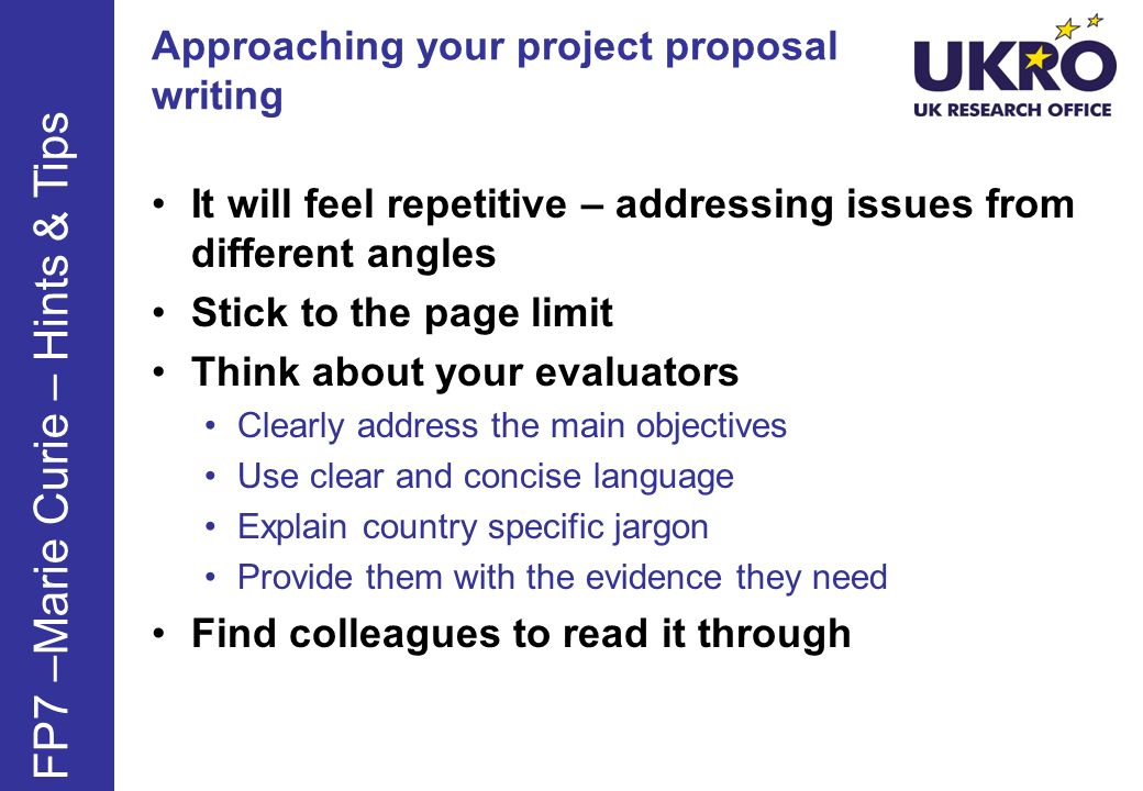 Approaching your project proposal writing