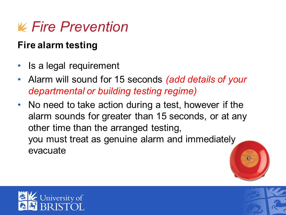 Fire Prevention Fire alarm testing Is a legal requirement