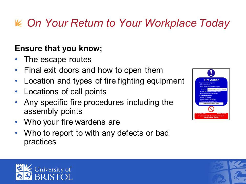 On Your Return to Your Workplace Today