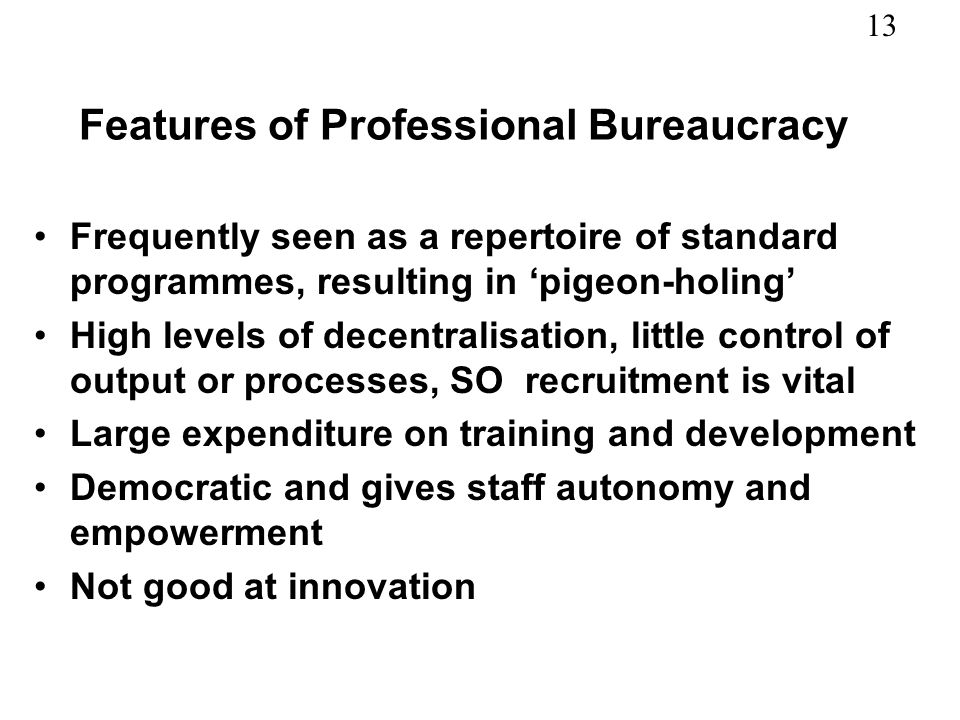Features of Professional Bureaucracy
