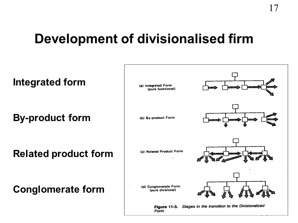 Development of divisionalised firm