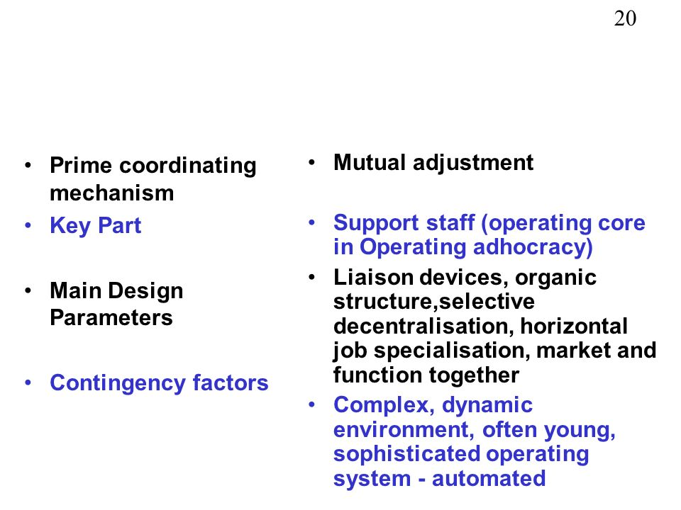 Prime coordinating mechanism