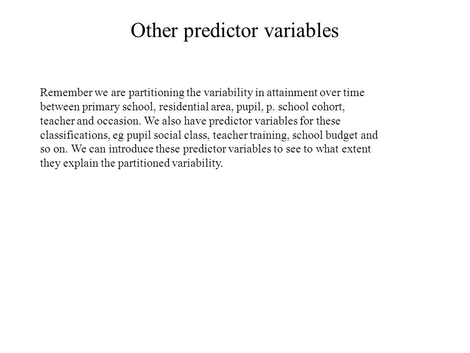 Other predictor variables