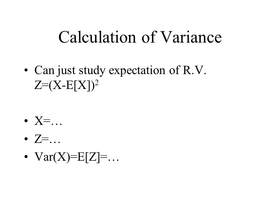 Calculation of Variance