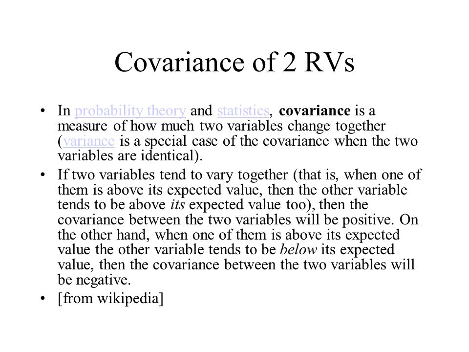 Covariance of 2 RVs