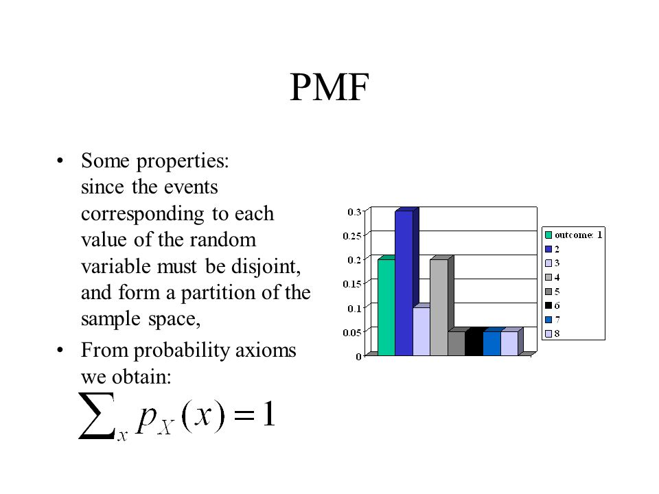 PMF Some properties: since the events corresponding to each value of the random variable must be disjoint, and form a partition of the sample space,