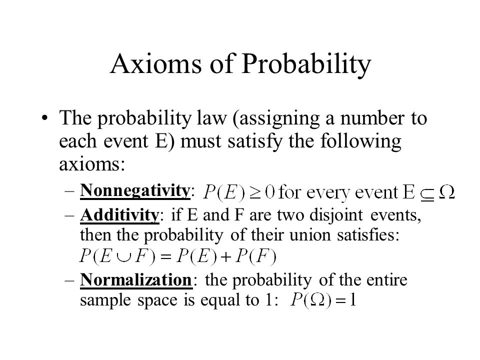 Axioms of Probability The probability law (assigning a number to each event E) must satisfy the following axioms: