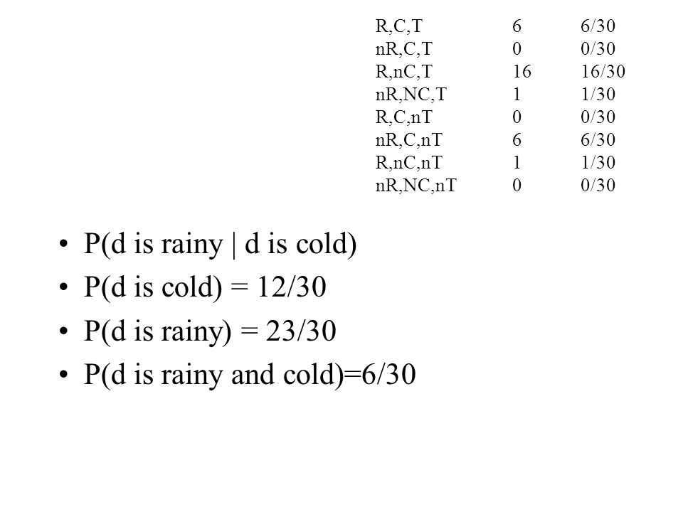 P(d is rainy and cold)=6/30