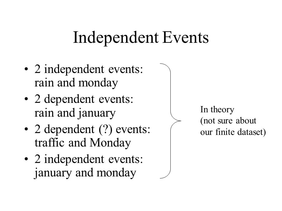 Independent Events 2 independent events: rain and monday