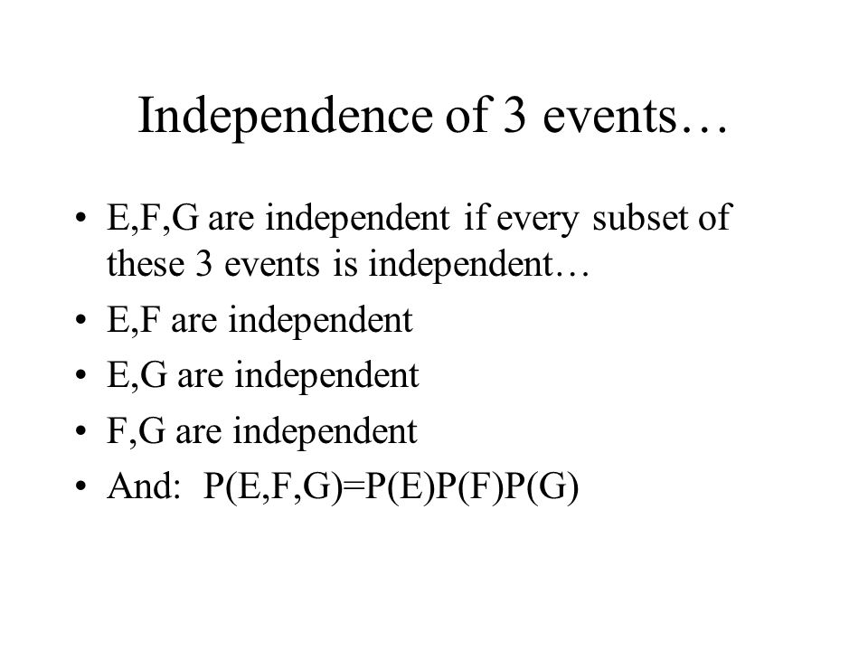 Independence of 3 events…