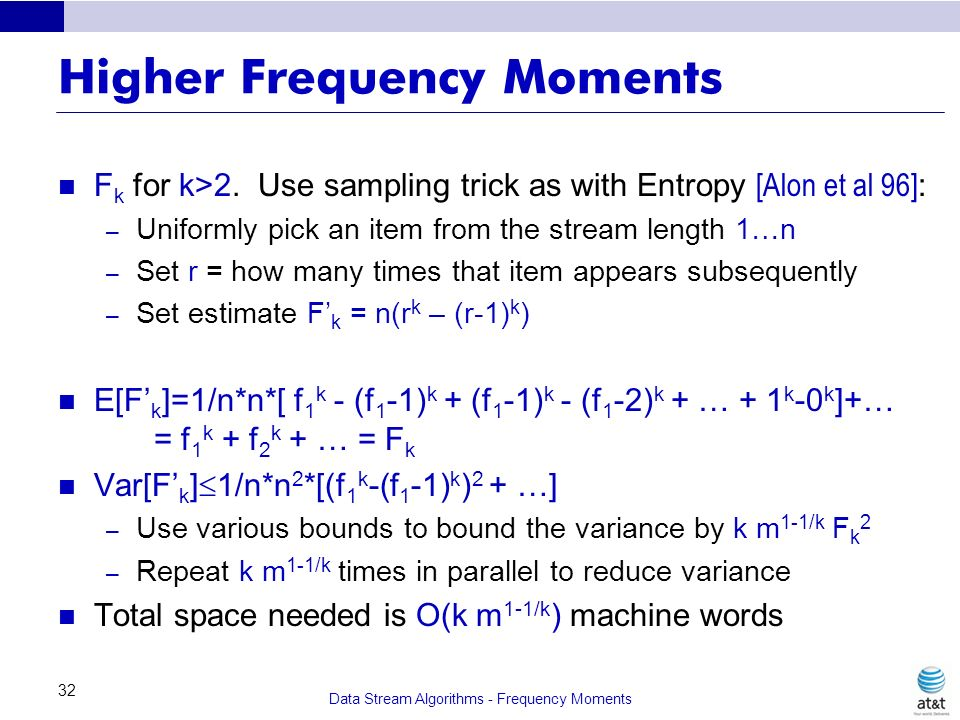 Higher Frequency Moments