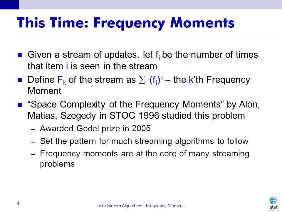 This Time: Frequency Moments