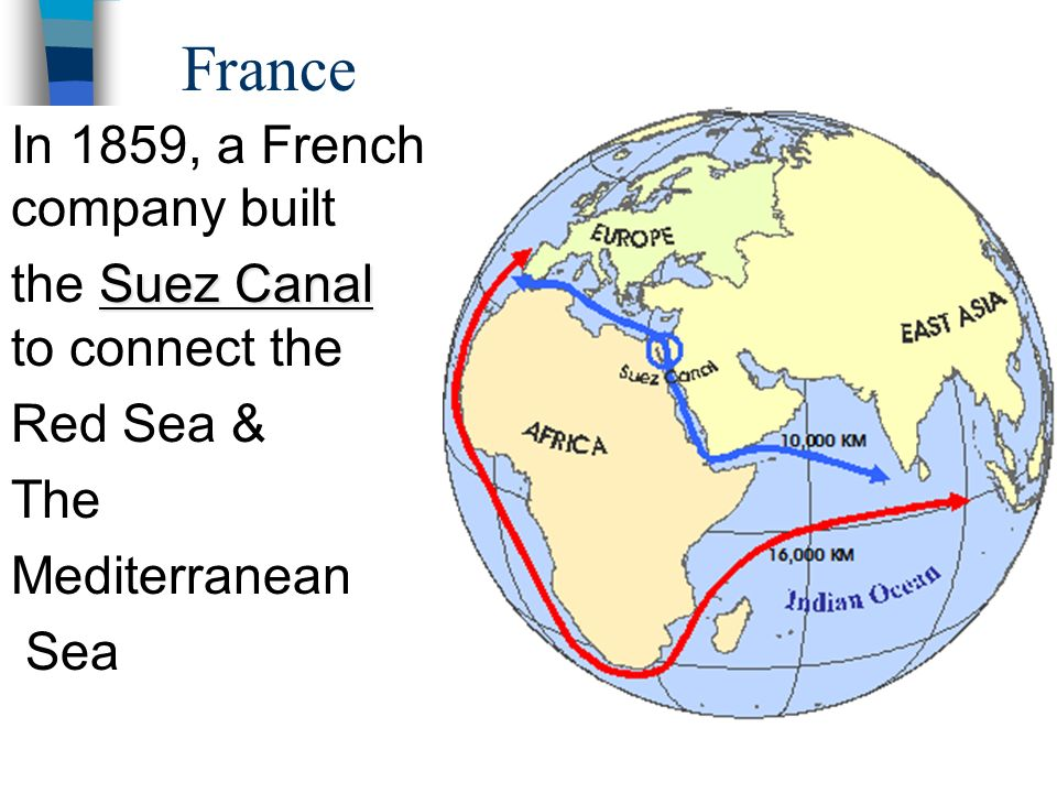 France In 1859, a French company built the Suez Canal to connect the
