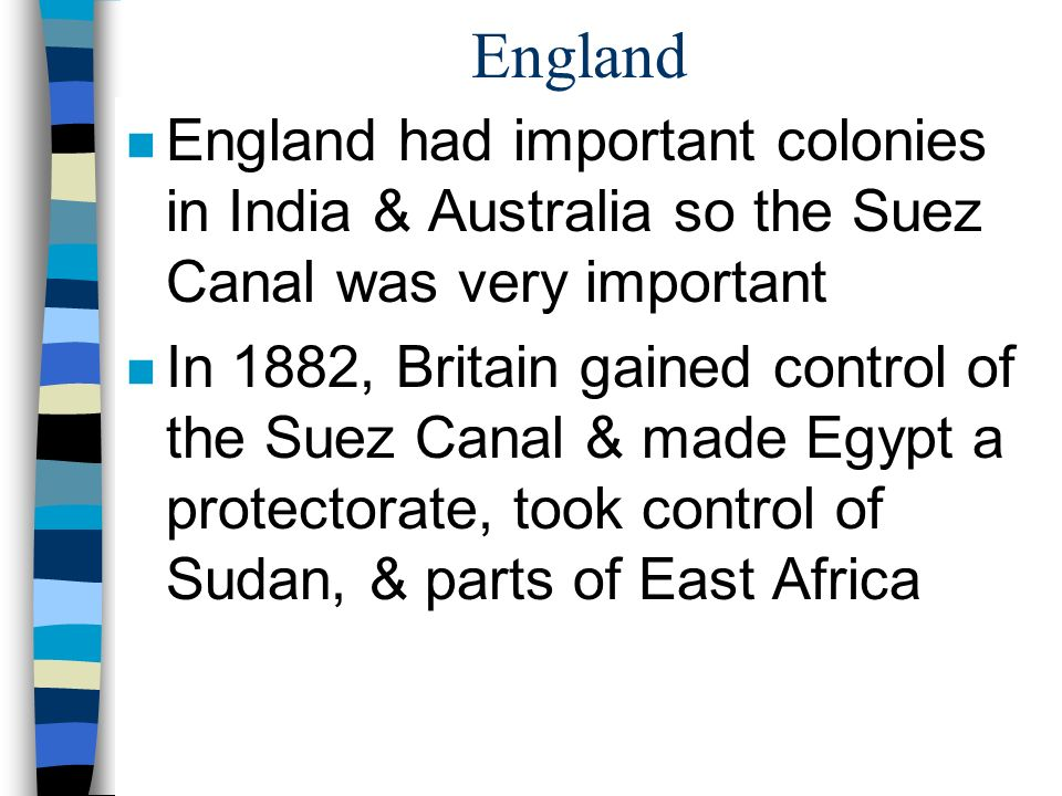 England England had important colonies in India & Australia so the Suez Canal was very important.