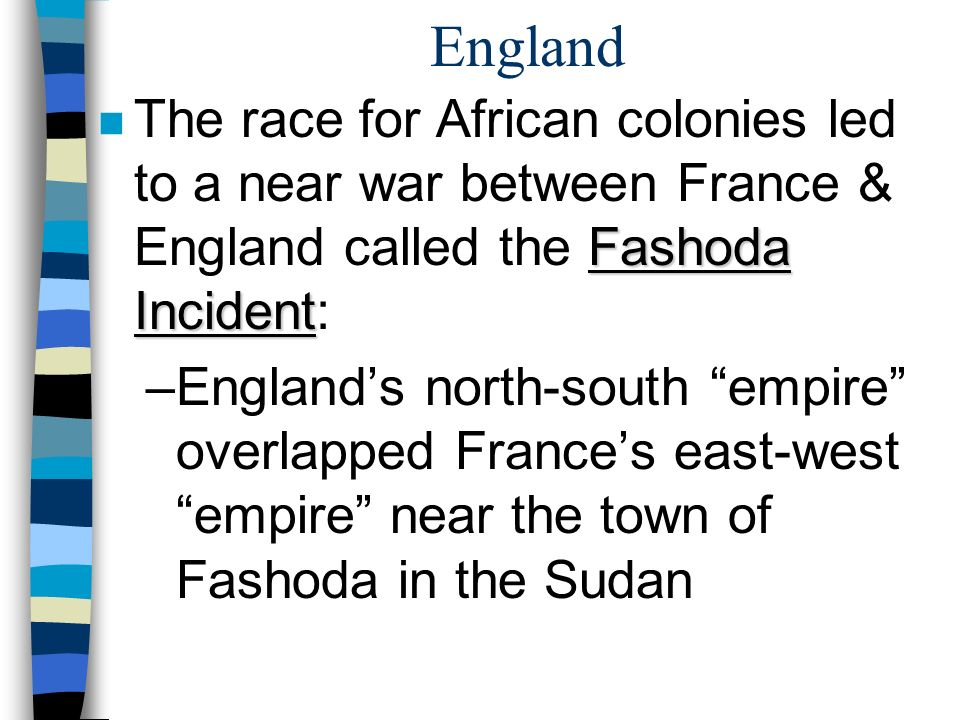England The race for African colonies led to a near war between France & England called the Fashoda Incident: