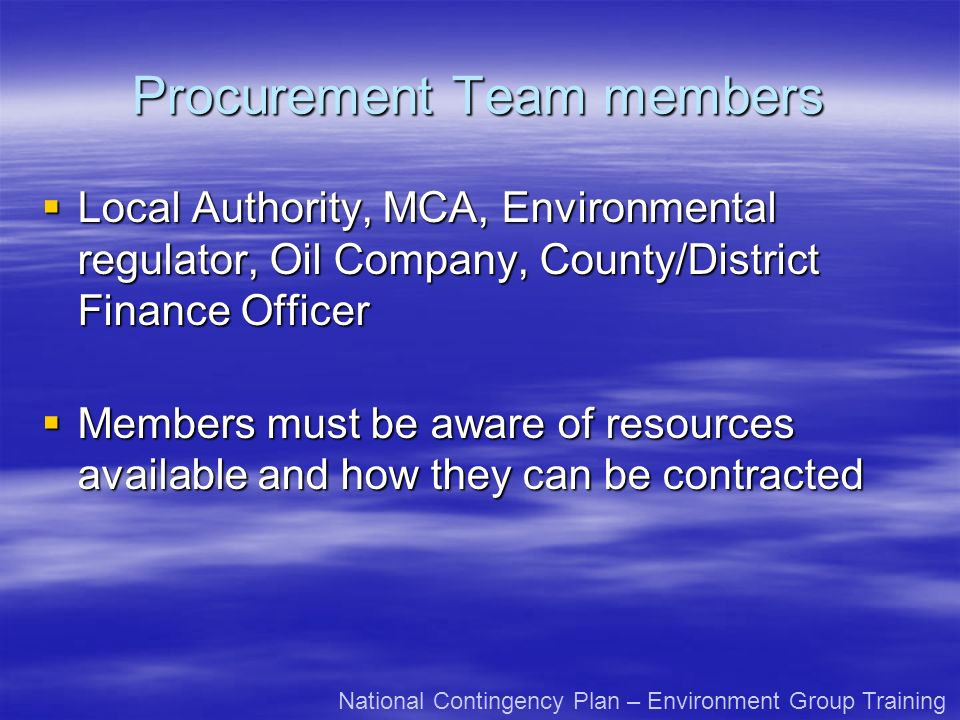 Procurement Team members