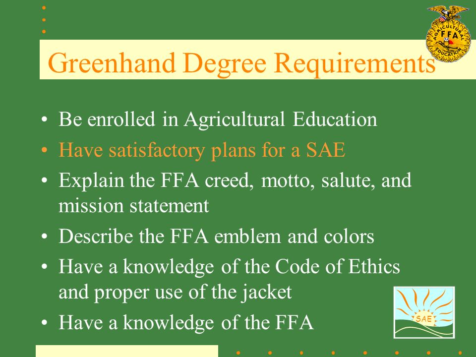 greenhand degree requirements