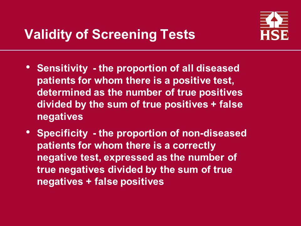 Validity of Screening Tests