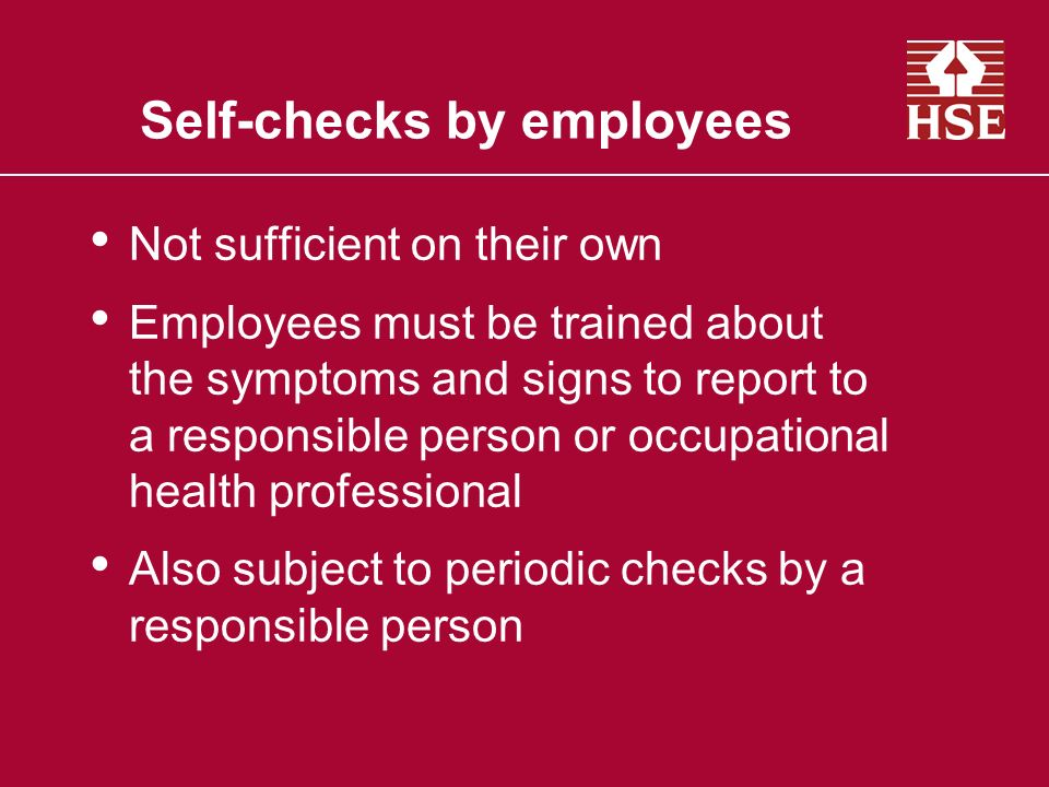 Self-checks by employees