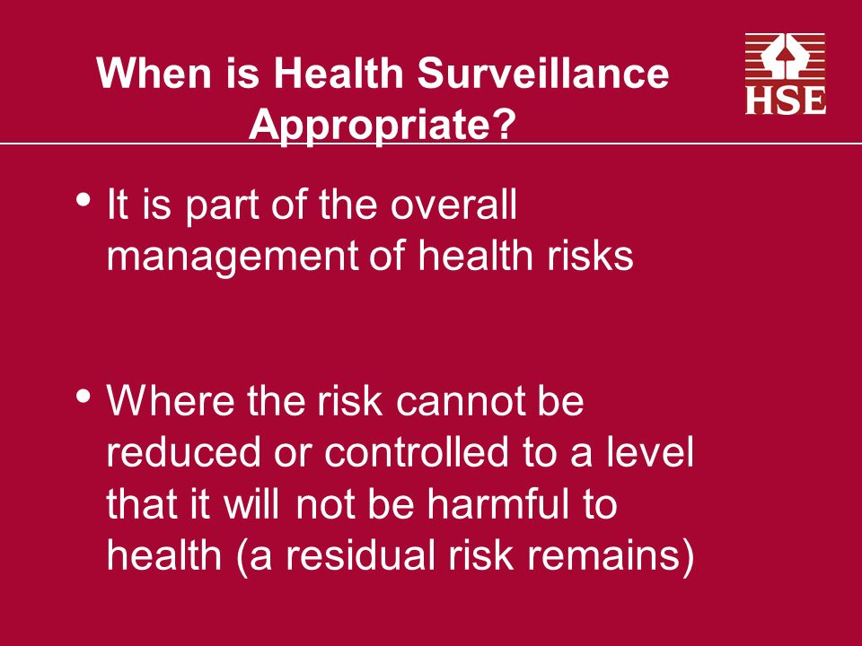 When is Health Surveillance Appropriate
