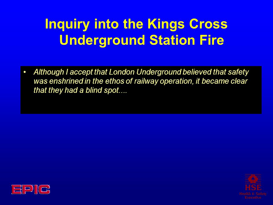 Inquiry into the Kings Cross Underground Station Fire