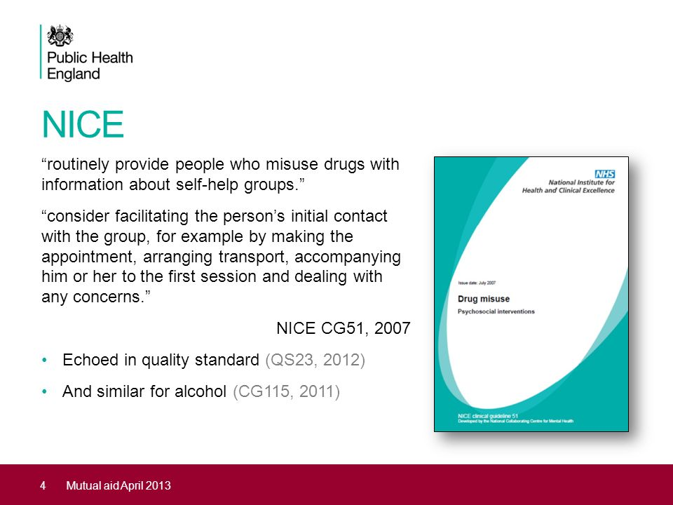 NICE routinely provide people who misuse drugs with information about self-help groups.