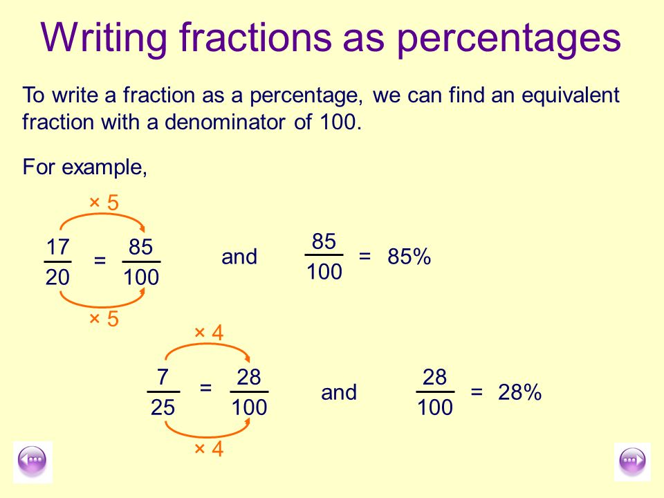 Writing Fractions As Percentages