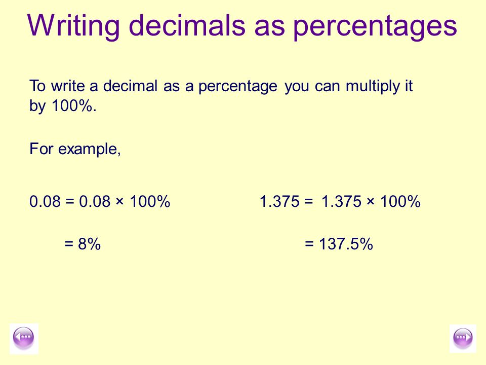 Writing Decimals As Percentages