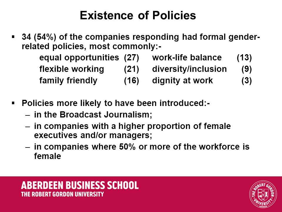 Existence of Policies 34 (54%) of the companies responding had formal gender-related policies, most commonly:-