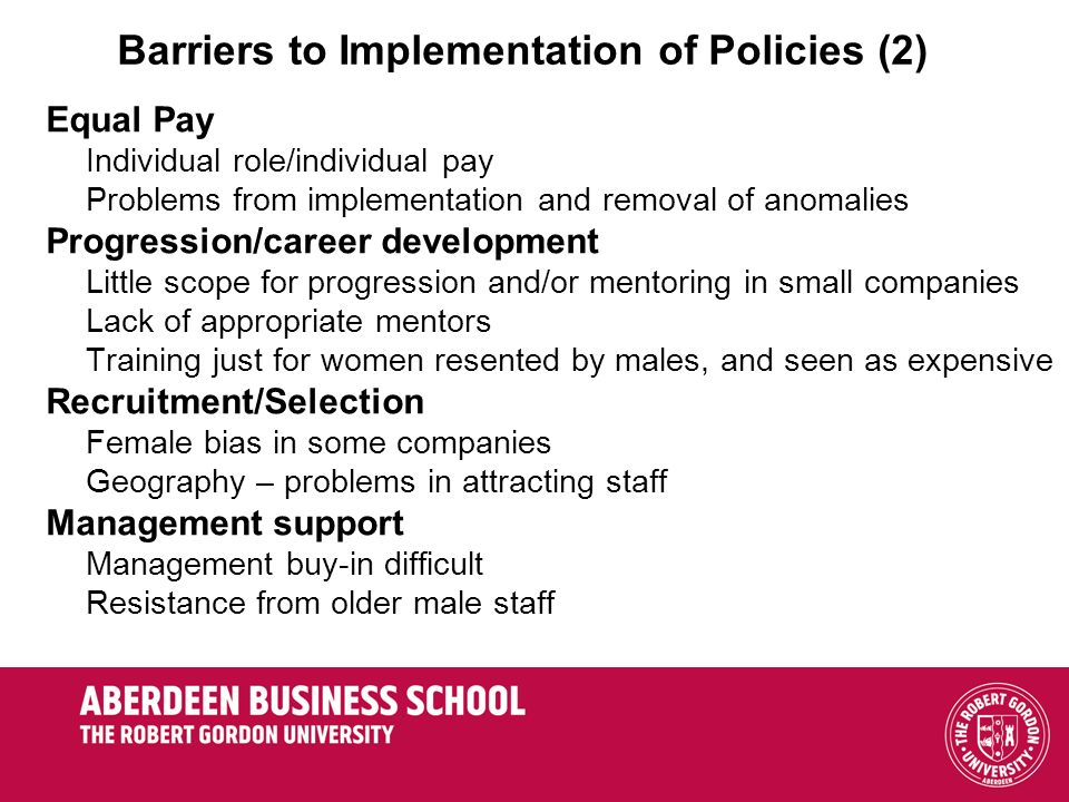 Barriers to Implementation of Policies (2)
