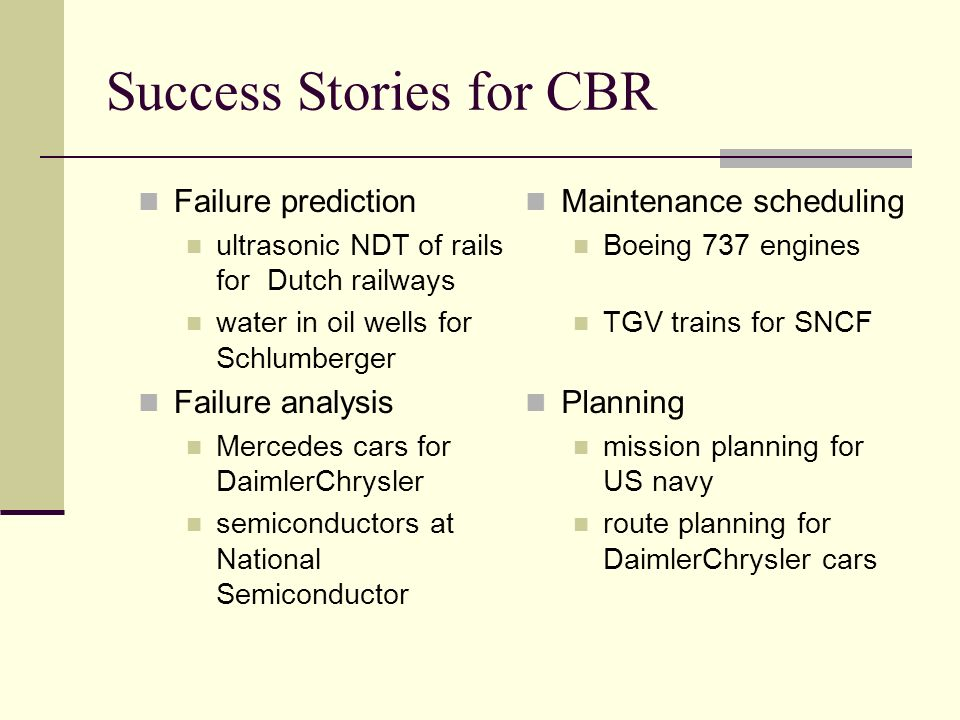 Success Stories for CBR