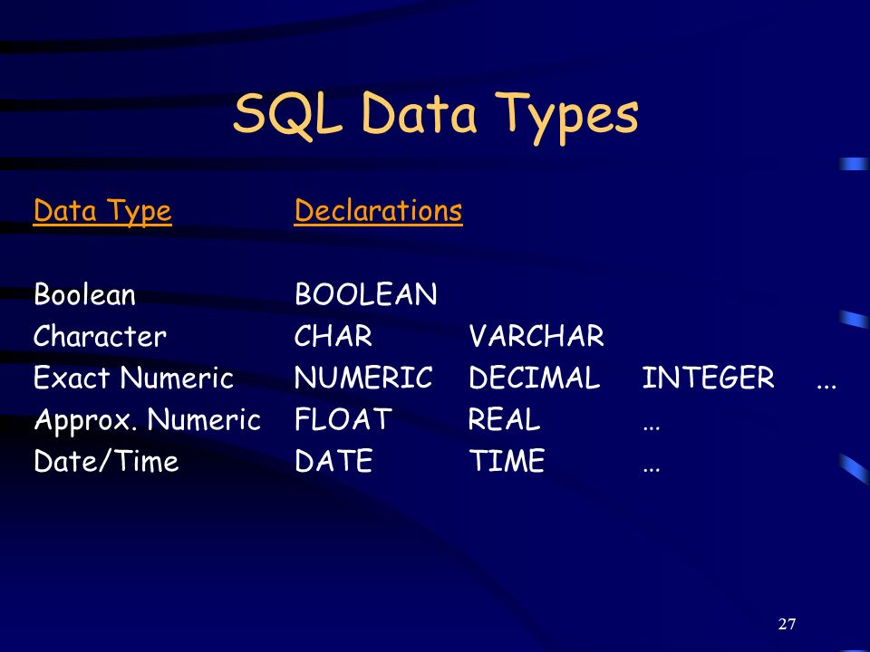 SQL Data Types Data Type Declarations Boolean BOOLEAN