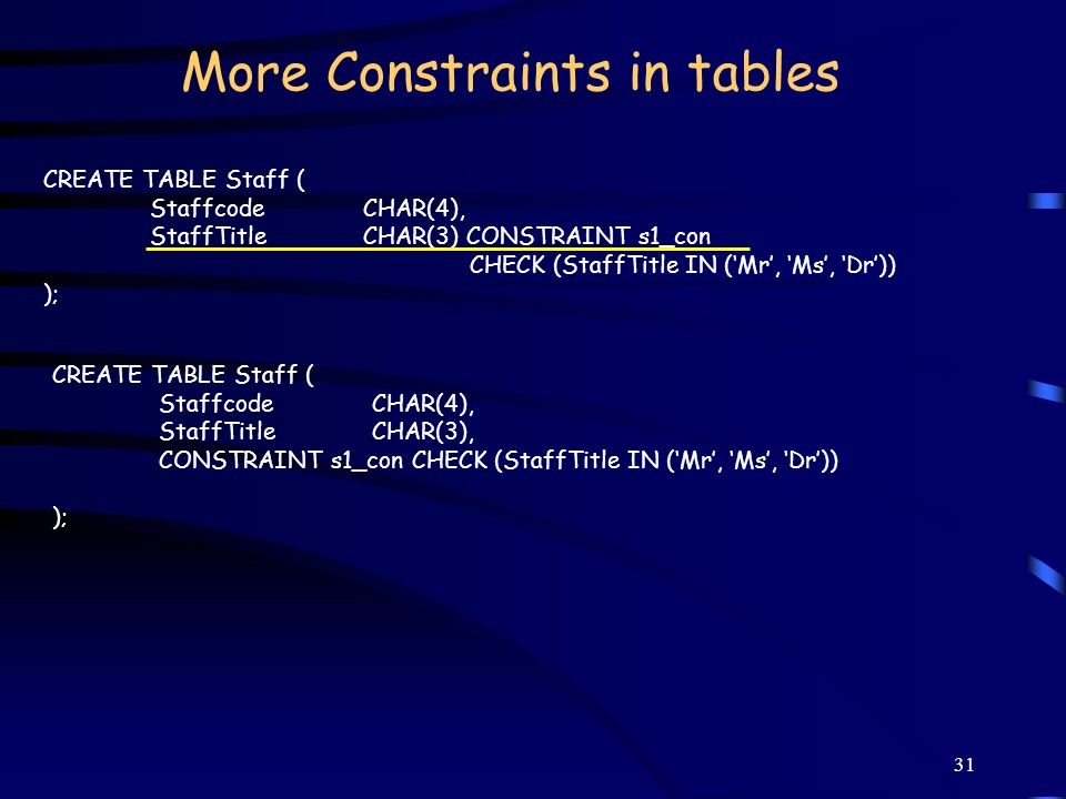 More Constraints in tables