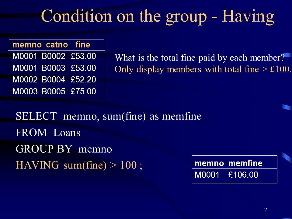 Condition on the group - Having
