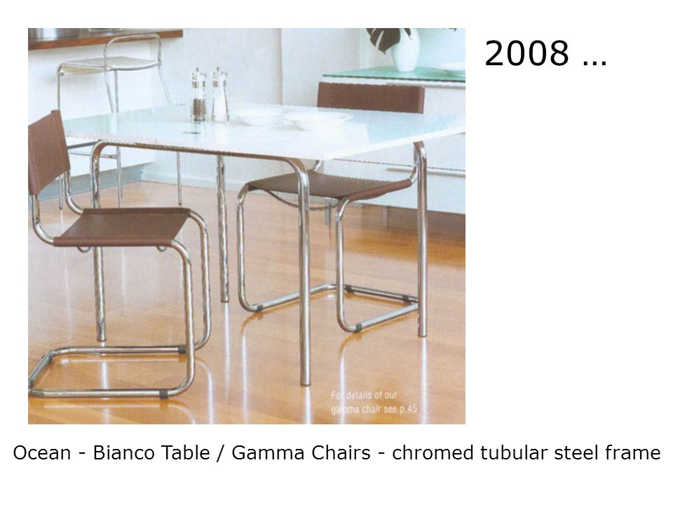 2008 … Influence continues today Ocean - Bianco Table / Gamma Chairs - chromed tubular steel frame