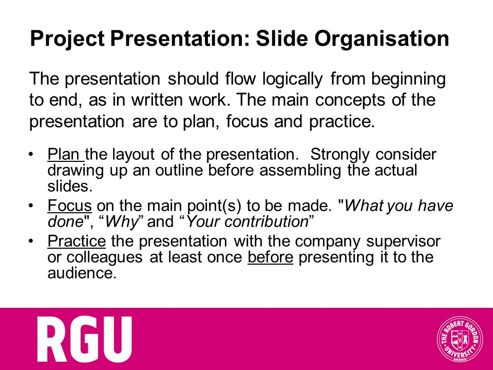 Project Presentation: Slide Organisation