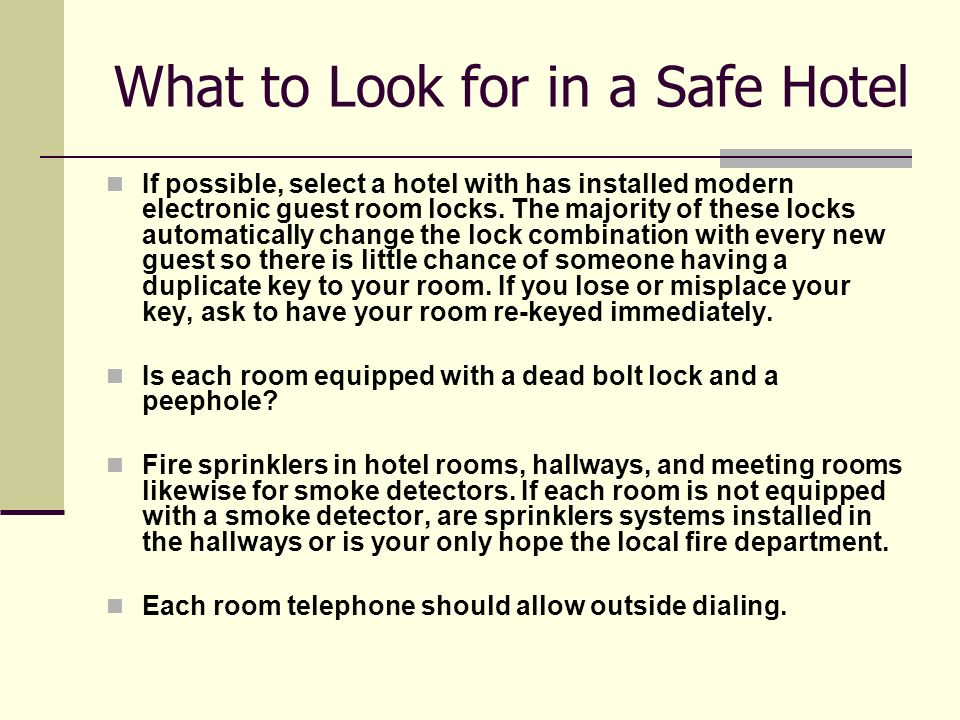 Hotel Safety Tips for Travelers  - ppt video online download