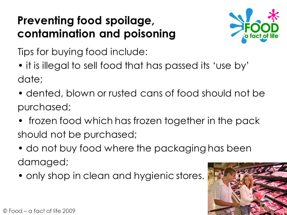 Preventing food spoilage, contamination and poisoning