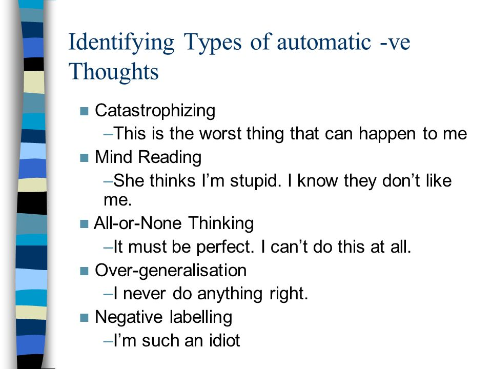 Identifying Types of automatic -ve Thoughts