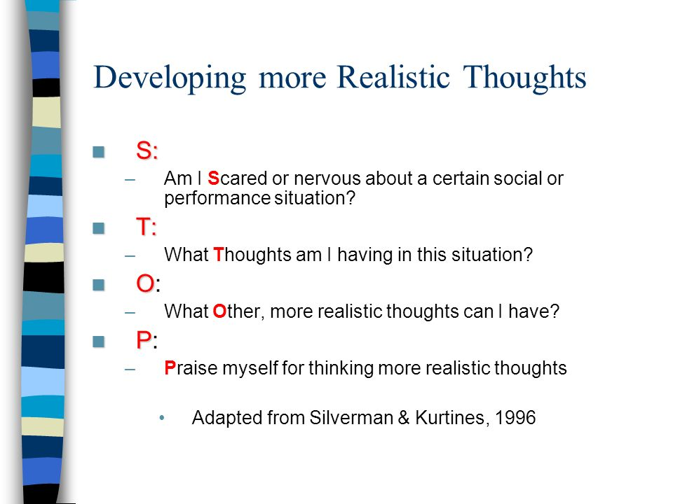 Developing more Realistic Thoughts