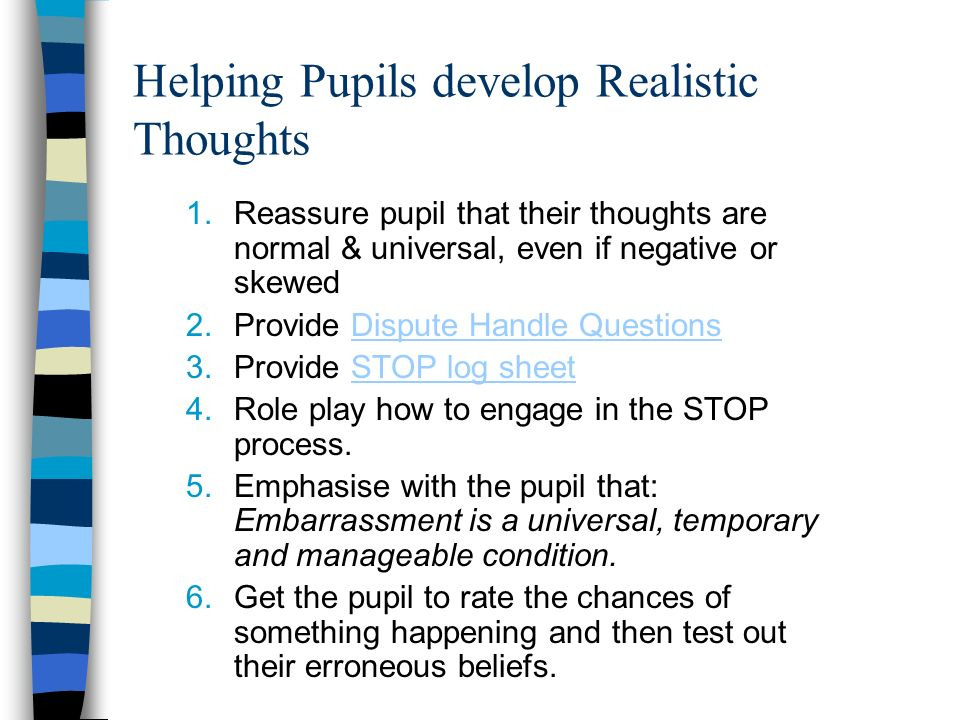 Helping Pupils develop Realistic Thoughts