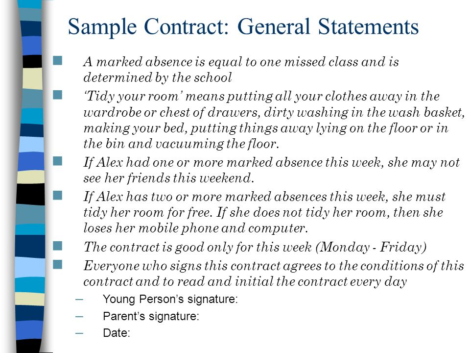 Sample Contract: General Statements
