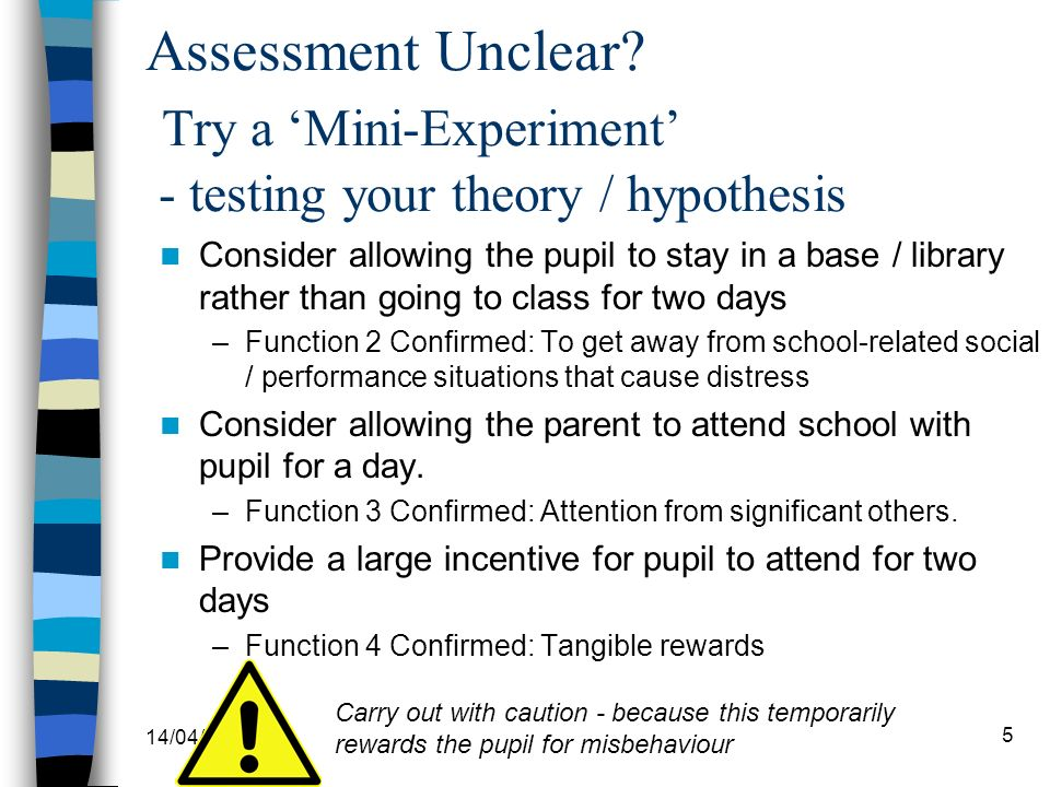 Assessment Unclear Try a 'Mini-Experiment' - testing your theory / hypothesis
