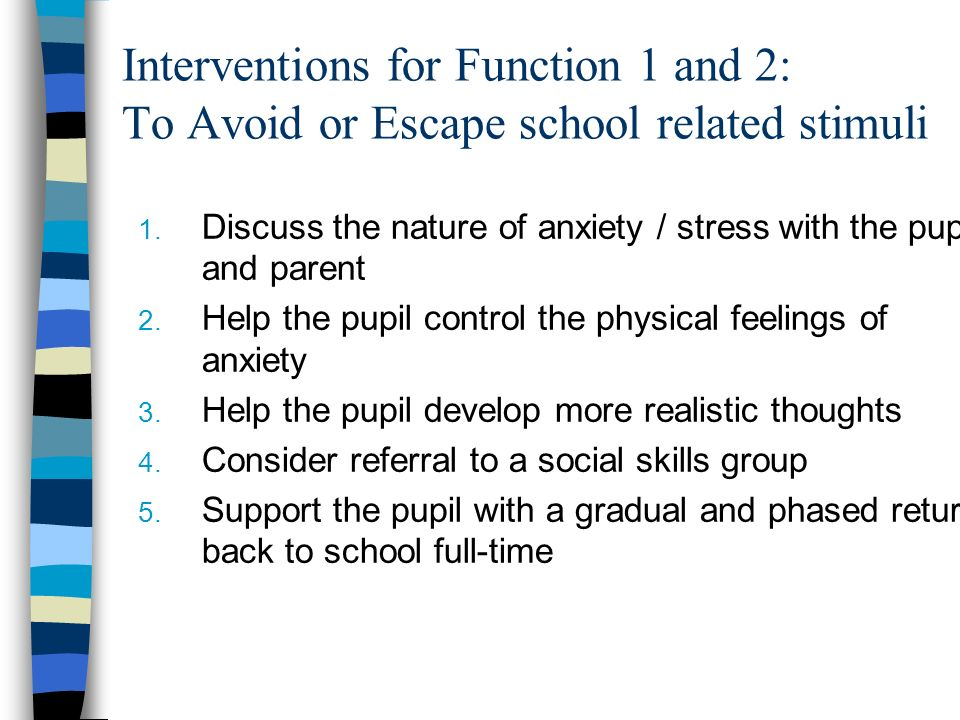 Interventions for Function 1 and 2: To Avoid or Escape school related stimuli
